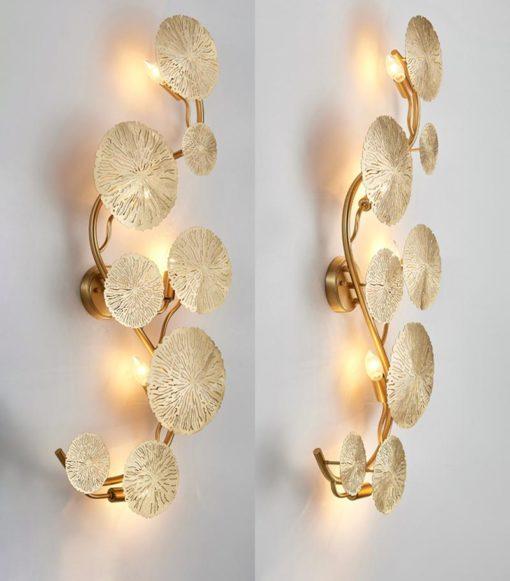 Lotus leaf wall sconce